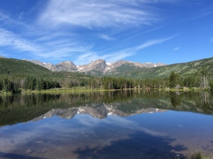 The mountains and sky reflected beautifully off of Sprague Lake.