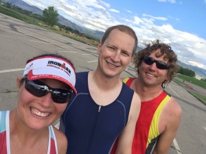 Post swim/run high...with the mountains in the background and at altitude.