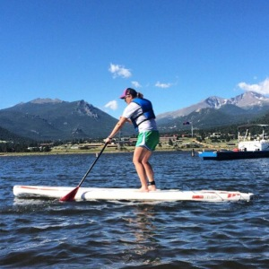 Stand-up paddle boarding in Lake Estes, CO :)