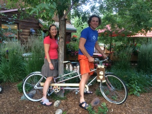 This is the only way you'll catch the two of us on a tandem together...in a garden as part of their decor ;)