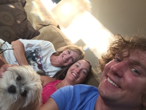 Snuggling on the couch to watch Nicky's Family