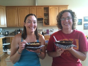 Sarah and I using bowl pad holders...perfect for holding hot bowls any time of the day!!