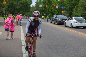 Riding away from the family at mile 110