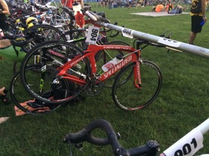 Mojo is racked and ready to ride. Doing a relay requires so much less gear in transition.