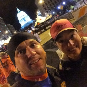 Volunteering at Ironman Wisconsin...Race morning in front of the Capitol.