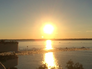 A beautiful morning for an Ironman floating swim start