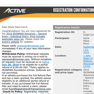 Yes, both my husband and I officially registered for Ironman Wisconsin 2016!!