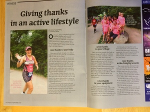"My fitness article on ""Giving thanks in an active lifestyle"" was a big hit this month ;)"