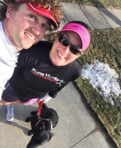 Some serious #runlove with my 2 faves!! Bonus = running in SHORTS in Iowa...see the snow on the ground ;)
