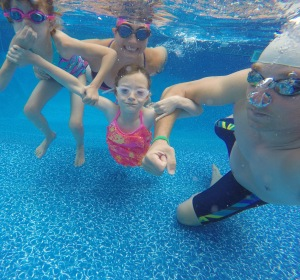 Swimming with the nieces between storms.
