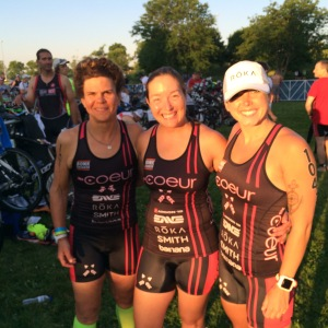 Jenn, myself, and Mandy representing Coeur Sports and ready to race!