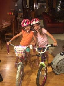 The twins got new helmets and baskets for their bikes (although Isabella's wasn't installed here) for learning to ride their bikes!
