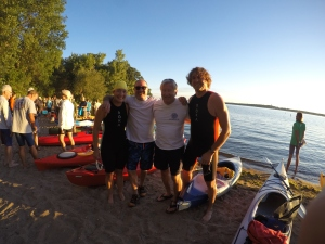 Thanks to Dad and Tom for being our kayak support for the 3.5 mile Okoboji open water swim event!