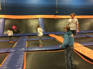 Jumping on trampolines is a much tougher workout than I thought it would be!