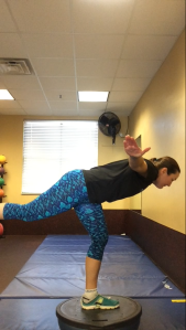 Look...I'm flying!! Airplanes on an inverted Bosu as part of my strength session today.